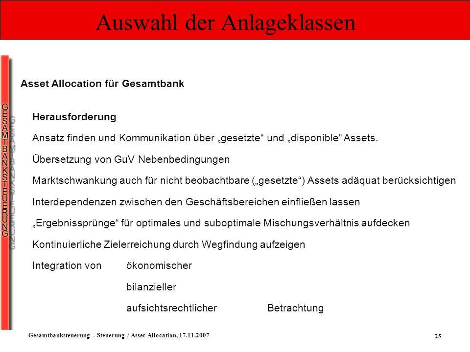 25 Gesamtbanksteuerung - Steuerung / Asset Allocation, 17.11.2007 Auswahl der Anlageklassen Asset Allocation für Gesamtbank Herausforderung Ansatz fin