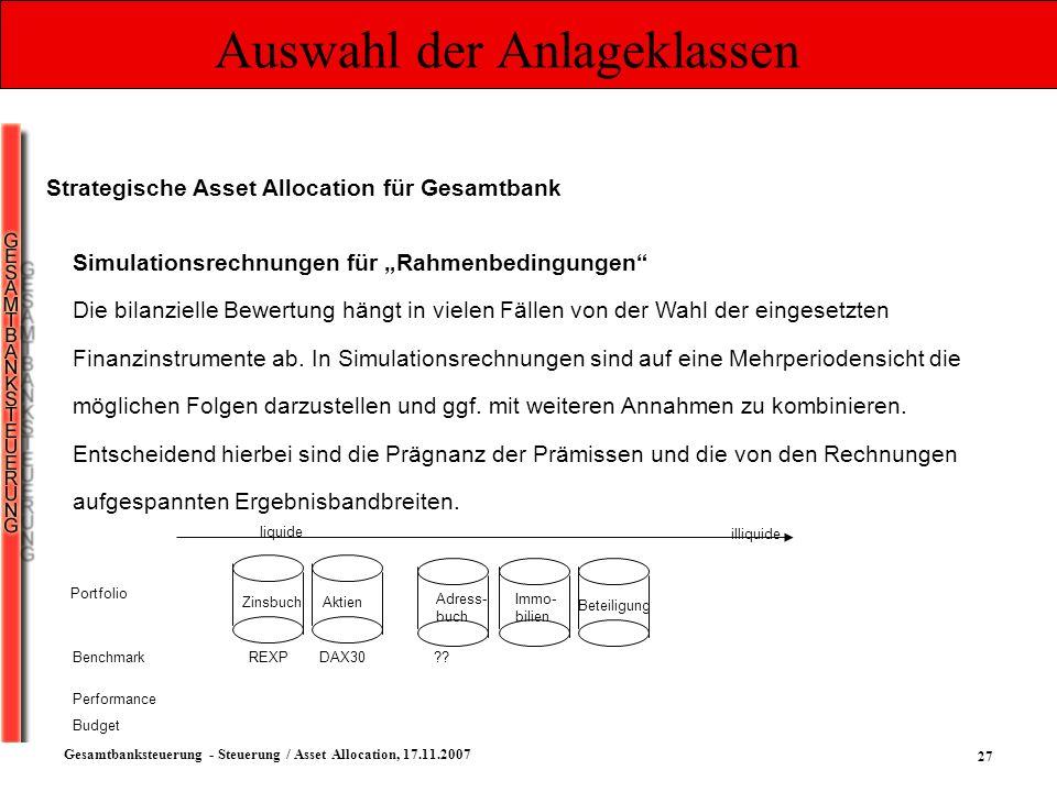 27 Gesamtbanksteuerung - Steuerung / Asset Allocation, 17.11.2007 Auswahl der Anlageklassen Strategische Asset Allocation für Gesamtbank Simulationsre