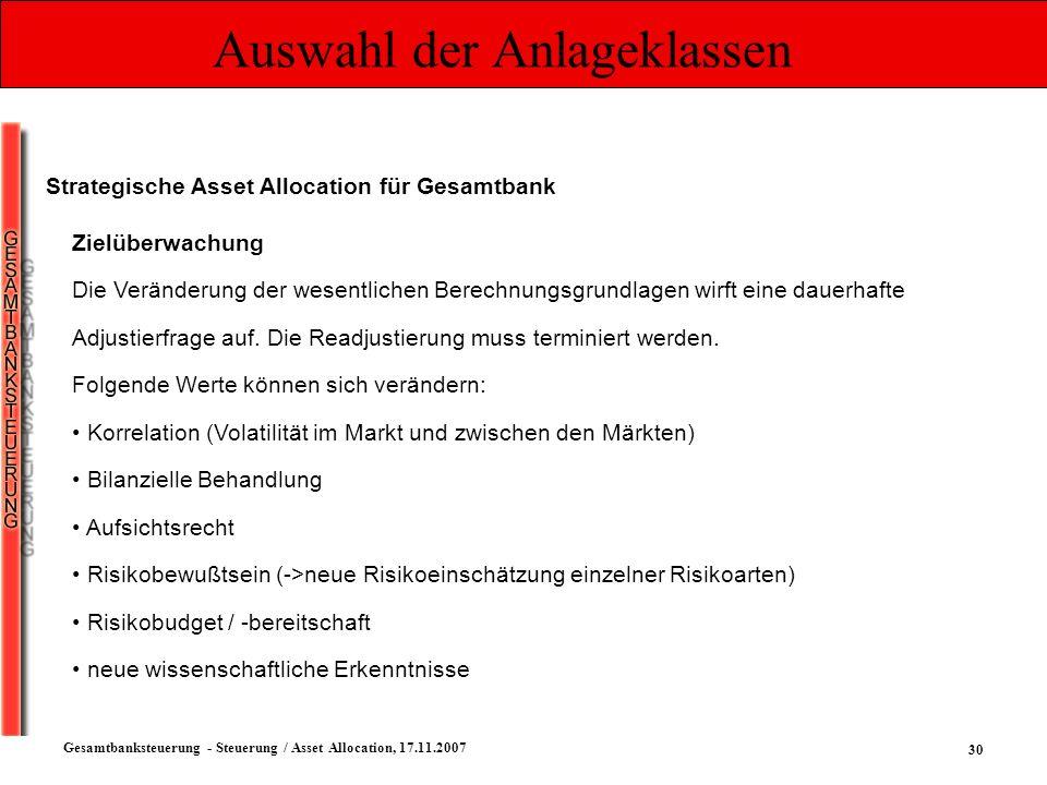 30 Gesamtbanksteuerung - Steuerung / Asset Allocation, 17.11.2007 Auswahl der Anlageklassen Strategische Asset Allocation für Gesamtbank Zielüberwachu