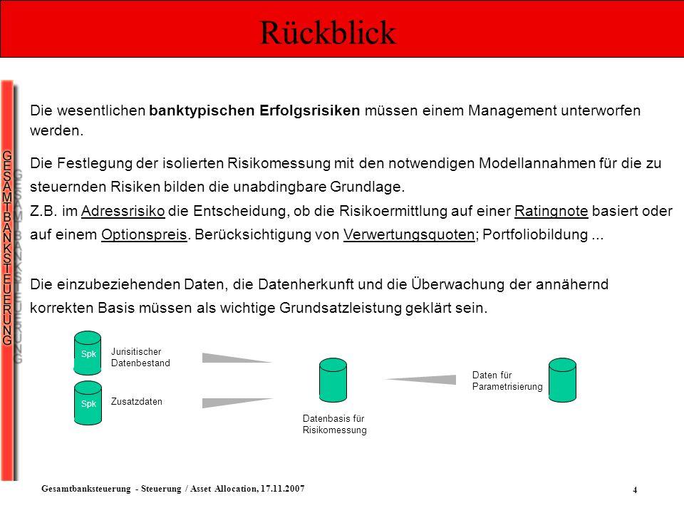 15 Gesamtbanksteuerung - Steuerung / Asset Allocation, 17.11.2007 Managementstile Passives Management in der Praxis Festlegen eines Rahmens, in dem automatisiert Transaktionen erfolgen Festlegen einer Mindestgröße der Tranchen Festlegen eines Abweichungslimites um die Benchmark Informationsdefizite reduzieren durch z.
