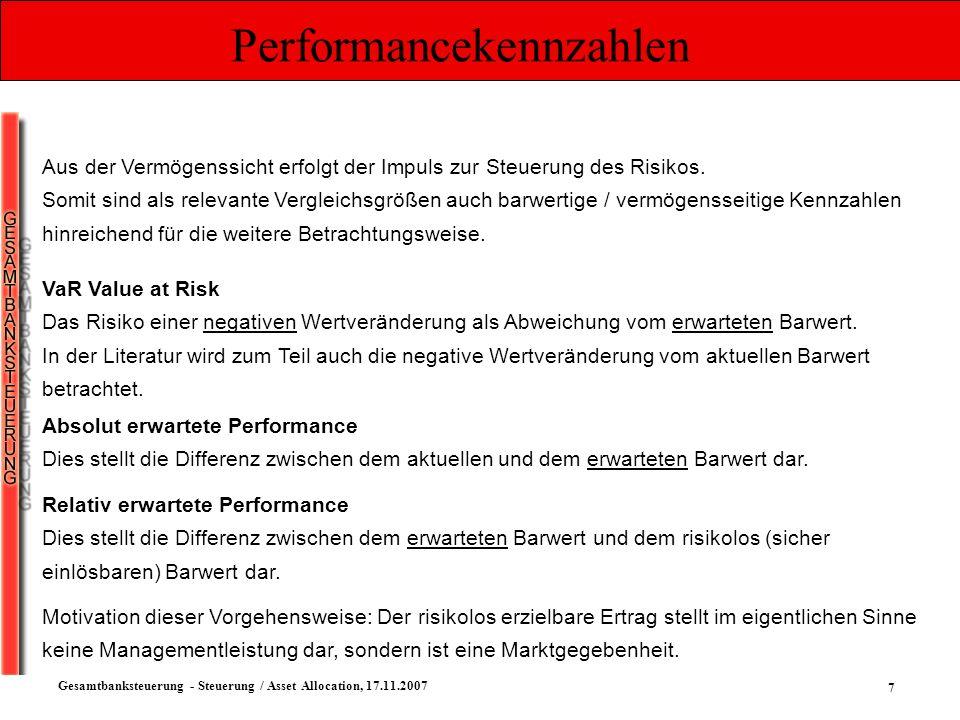 28 Gesamtbanksteuerung - Steuerung / Asset Allocation, 17.11.2007 Auswahl der Anlageklassen Ertragsperformance Risikoadjustierte Ertrags- performance Vermö- genslimit Grund- sätze 1 + 2 Handelsr.