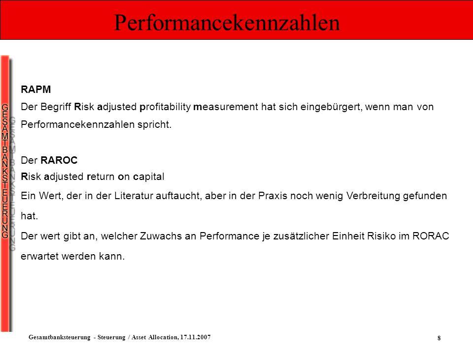 9 Gesamtbanksteuerung - Steuerung / Asset Allocation, 17.11.2007 Performancekennzahlen Der RORAC Return on risk adjusted capital Relativ erwartete Performance VaR RORAC := Risiko Rendite risikoloser Ertrag VaR möglicher Verlust } Performance