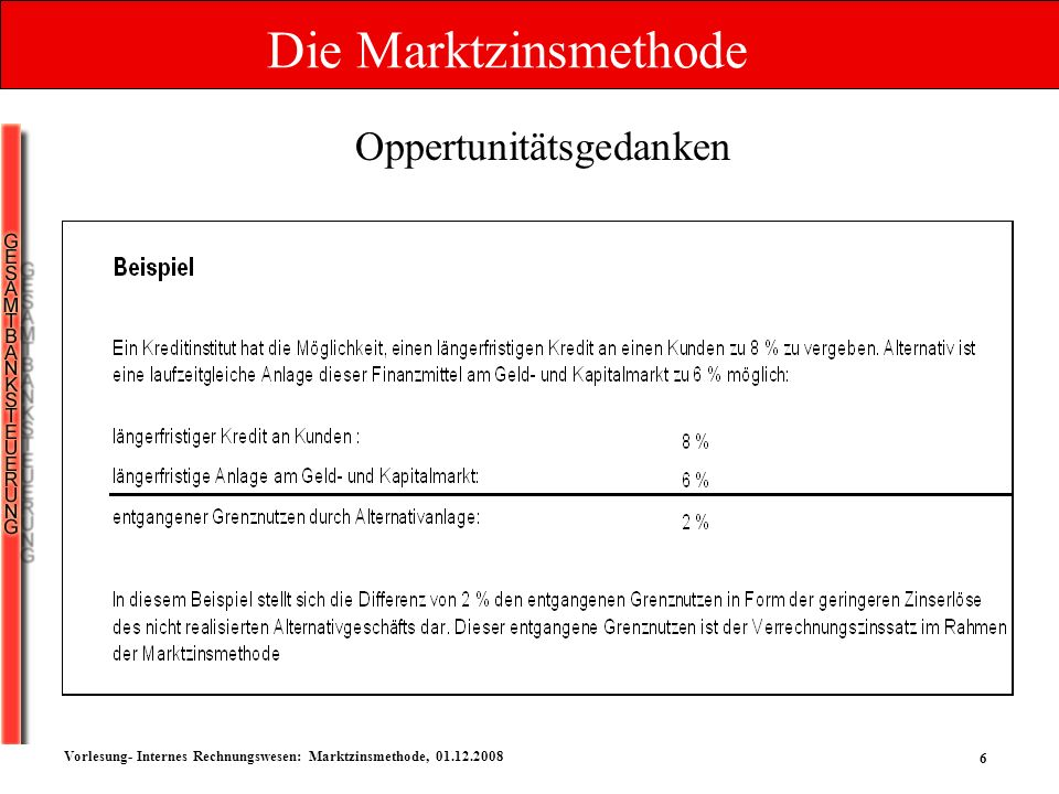 6 Vorlesung- Internes Rechnungswesen: Marktzinsmethode, 01.12.2008 Oppertunitätsgedanken Die Marktzinsmethode