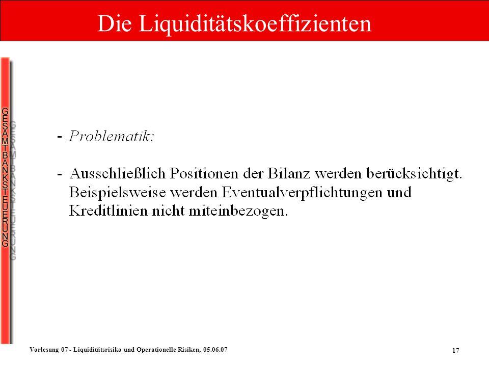 17 Vorlesung 07 - Liquiditätsrisiko und Operationelle Risiken, 05.06.07 Die Liquiditätskoeffizienten