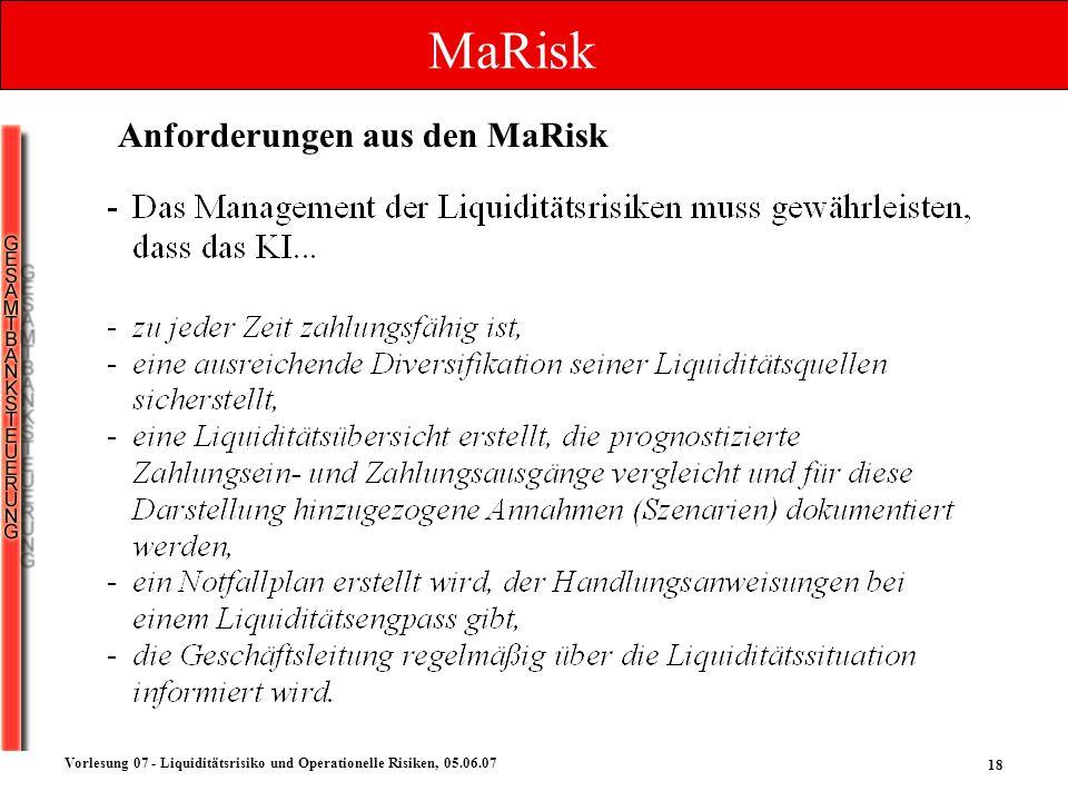 18 Vorlesung 07 - Liquiditätsrisiko und Operationelle Risiken, 05.06.07 MaRisk Anforderungen aus den MaRisk