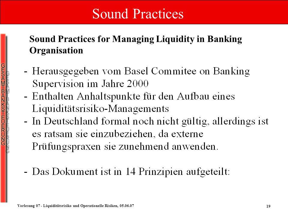 19 Vorlesung 07 - Liquiditätsrisiko und Operationelle Risiken, 05.06.07 Sound Practices Sound Practices for Managing Liquidity in Banking Organisation