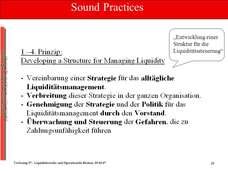 20 Vorlesung 07 - Liquiditätsrisiko und Operationelle Risiken, 05.06.07 Entwicklung einer Struktur für die Liquiditätssteuerung Sound Practices