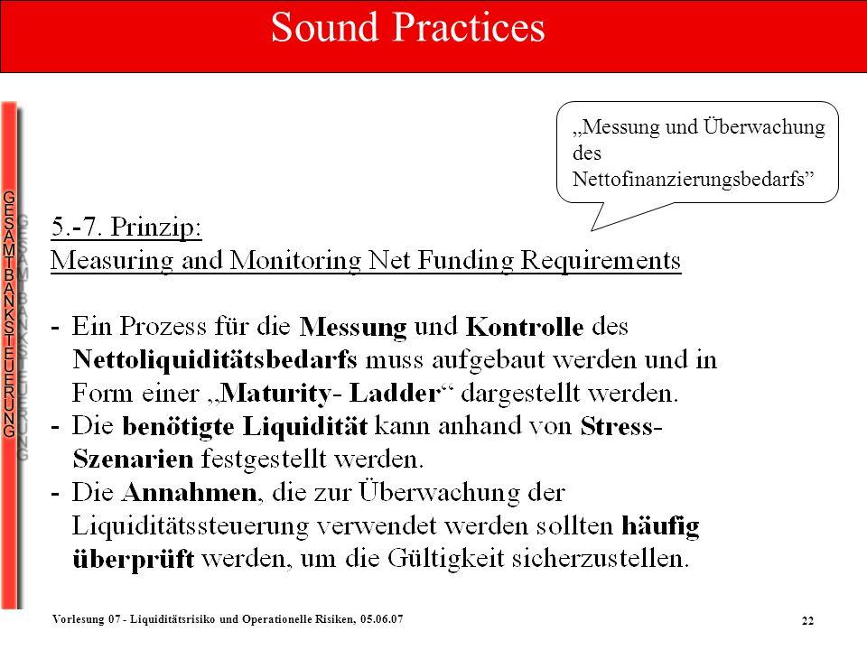22 Vorlesung 07 - Liquiditätsrisiko und Operationelle Risiken, 05.06.07 Messung und Überwachung des Nettofinanzierungsbedarfs Sound Practices