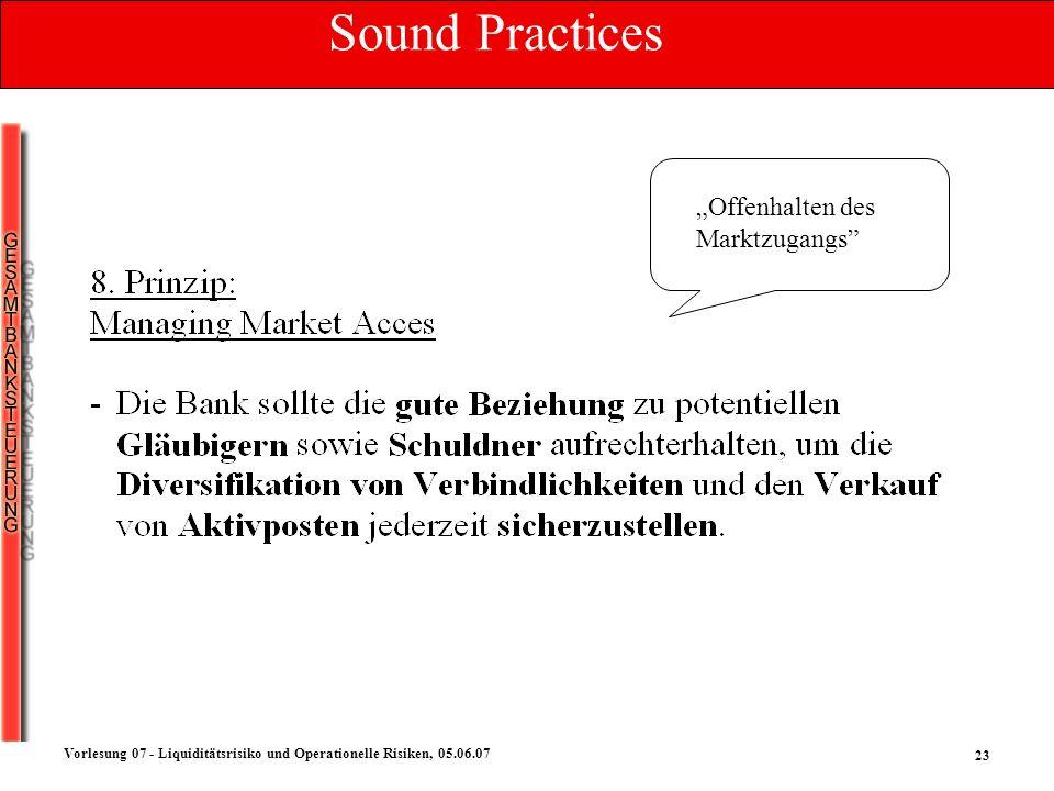 23 Vorlesung 07 - Liquiditätsrisiko und Operationelle Risiken, 05.06.07 Offenhalten des Marktzugangs Sound Practices