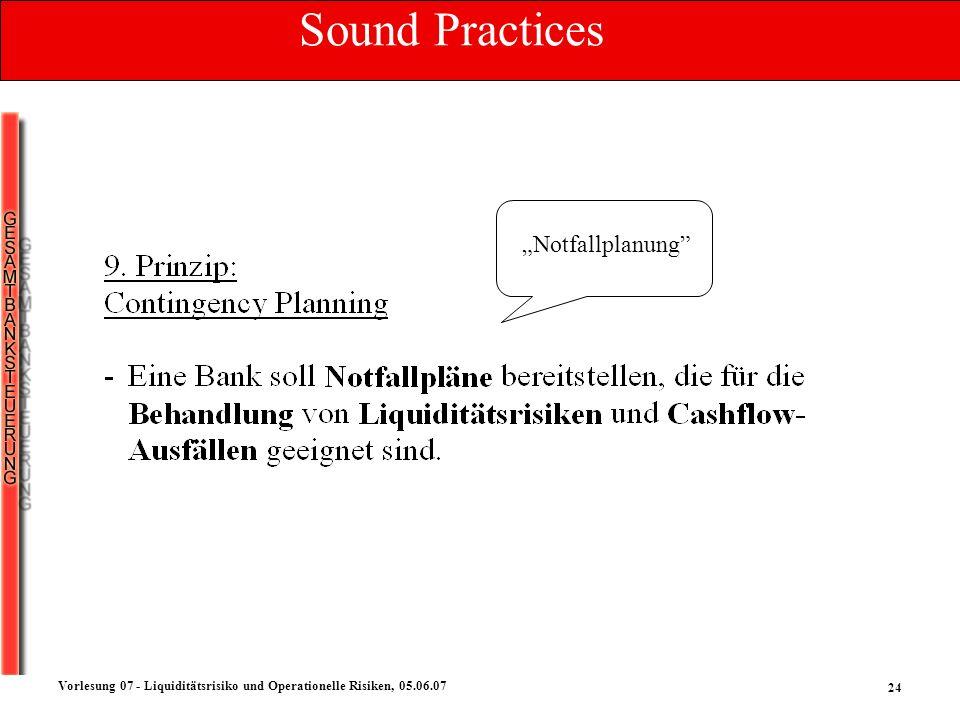 24 Vorlesung 07 - Liquiditätsrisiko und Operationelle Risiken, 05.06.07 Notfallplanung Sound Practices