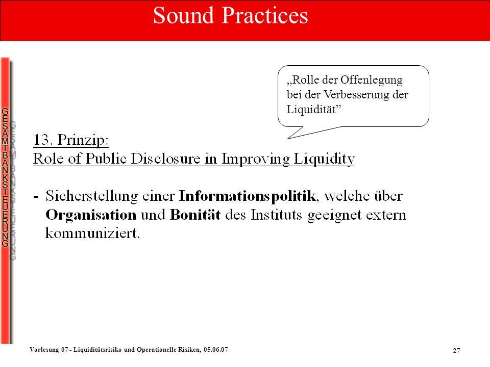 27 Vorlesung 07 - Liquiditätsrisiko und Operationelle Risiken, 05.06.07 Rolle der Offenlegung bei der Verbesserung der Liquidität Sound Practices