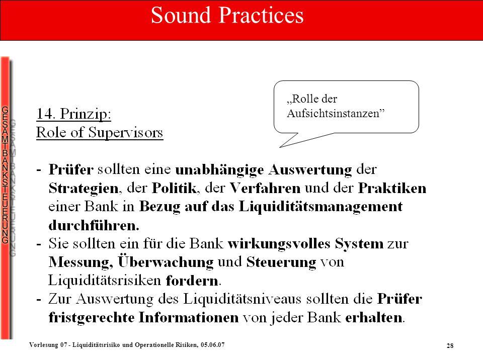 28 Vorlesung 07 - Liquiditätsrisiko und Operationelle Risiken, 05.06.07 Rolle der Aufsichtsinstanzen Sound Practices