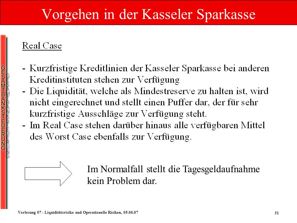 31 Vorlesung 07 - Liquiditätsrisiko und Operationelle Risiken, 05.06.07 Vorgehen in der Kasseler Sparkasse Im Normalfall stellt die Tagesgeldaufnahme