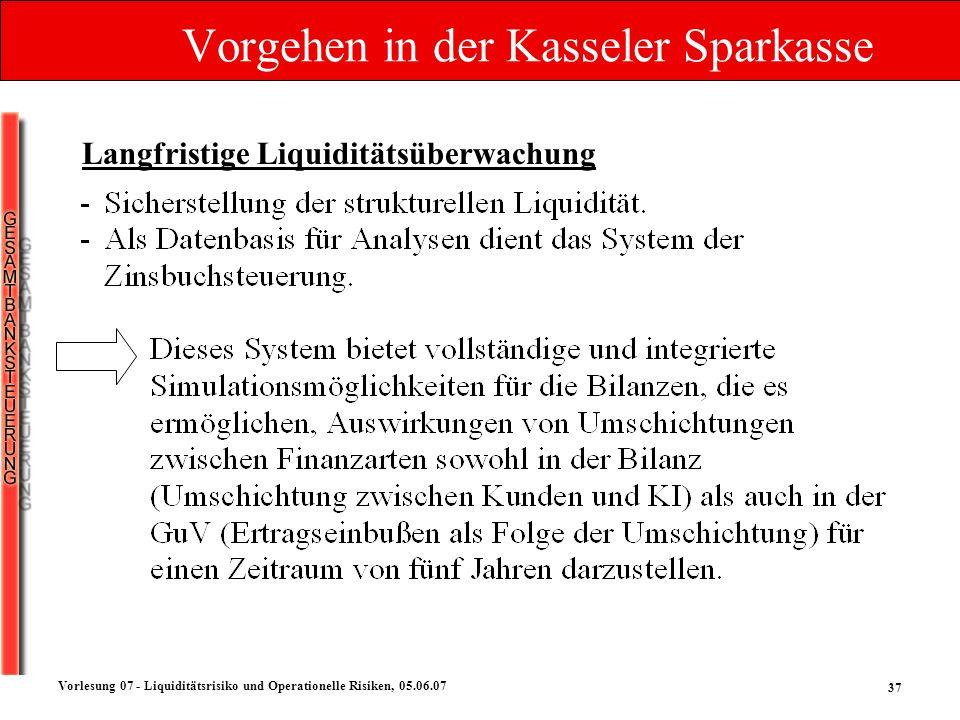 37 Vorlesung 07 - Liquiditätsrisiko und Operationelle Risiken, 05.06.07 Vorgehen in der Kasseler Sparkasse Langfristige Liquiditätsüberwachung