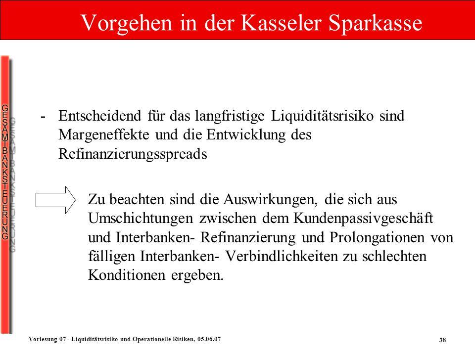 38 Vorlesung 07 - Liquiditätsrisiko und Operationelle Risiken, 05.06.07 Vorgehen in der Kasseler Sparkasse -Entscheidend für das langfristige Liquidit