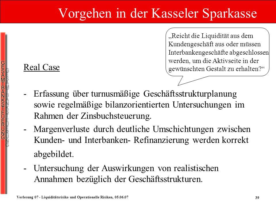 39 Vorlesung 07 - Liquiditätsrisiko und Operationelle Risiken, 05.06.07 Vorgehen in der Kasseler Sparkasse Reicht die Liquidität aus dem Kundengeschäf