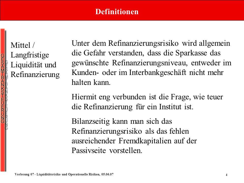 4 Vorlesung 07 - Liquiditätsrisiko und Operationelle Risiken, 05.06.07 Definitionen Mittel / Langfristige Liquidität und Refinanzierung Unter dem Refi