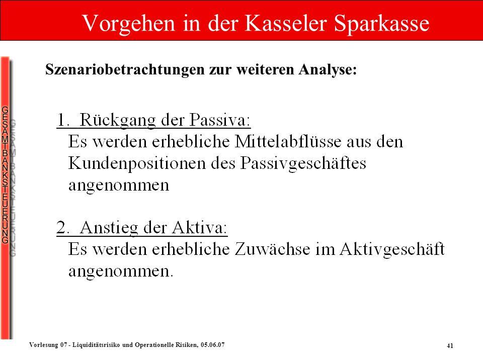 41 Vorlesung 07 - Liquiditätsrisiko und Operationelle Risiken, 05.06.07 Vorgehen in der Kasseler Sparkasse Szenariobetrachtungen zur weiteren Analyse: