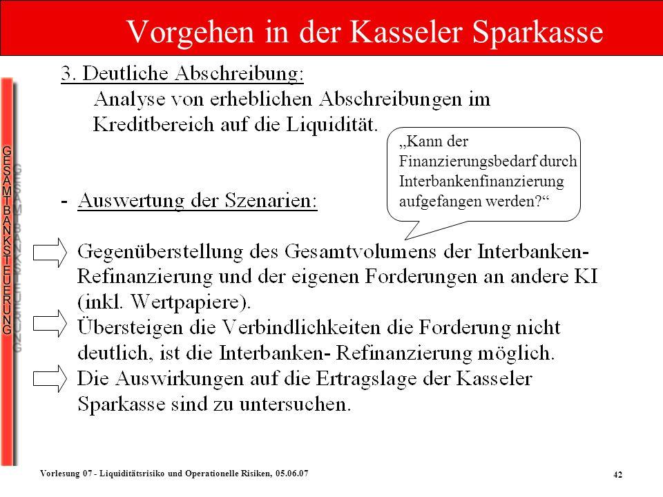42 Vorlesung 07 - Liquiditätsrisiko und Operationelle Risiken, 05.06.07 Vorgehen in der Kasseler Sparkasse Kann der Finanzierungsbedarf durch Interban