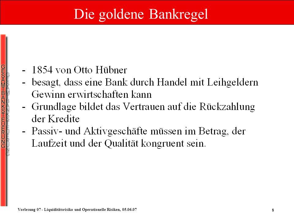 8 Vorlesung 07 - Liquiditätsrisiko und Operationelle Risiken, 05.06.07 Die goldene Bankregel