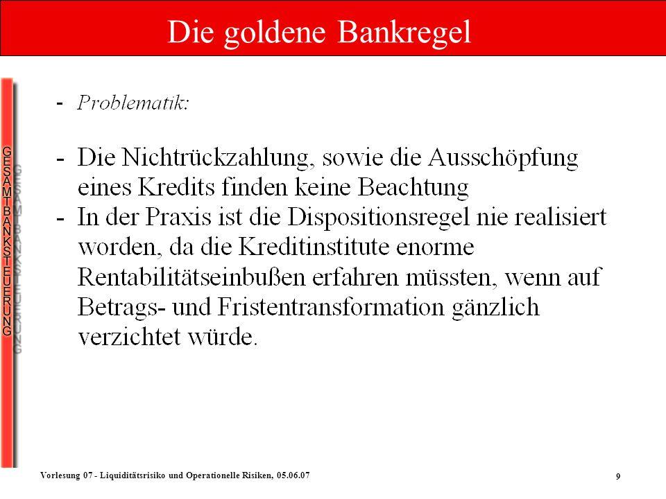 9 Vorlesung 07 - Liquiditätsrisiko und Operationelle Risiken, 05.06.07 Die goldene Bankregel