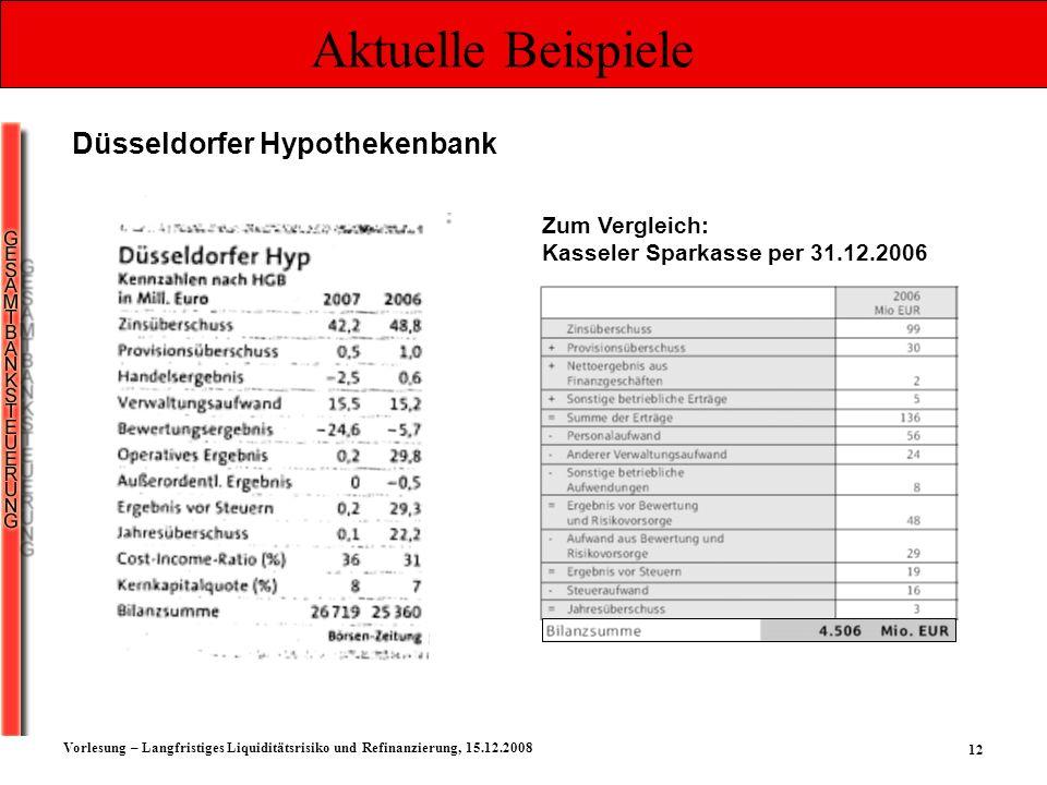 12 Vorlesung – Langfristiges Liquiditätsrisiko und Refinanzierung, 15.12.2008 Aktuelle Beispiele Düsseldorfer Hypothekenbank Zum Vergleich: Kasseler S