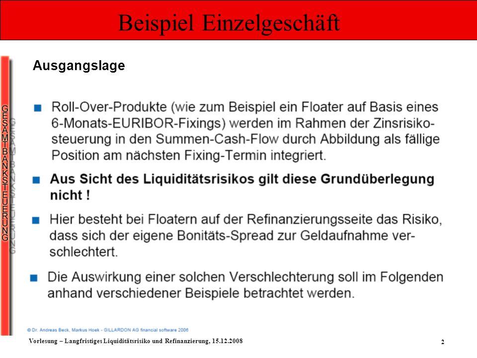 2 Vorlesung – Langfristiges Liquiditätsrisiko und Refinanzierung, 15.12.2008 Beispiel Einzelgeschäft Ausgangslage