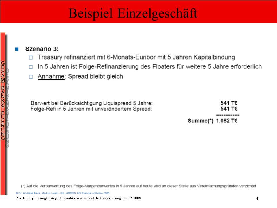 7 Vorlesung – Langfristiges Liquiditätsrisiko und Refinanzierung, 15.12.2008 Beispiel Einzelgeschäft