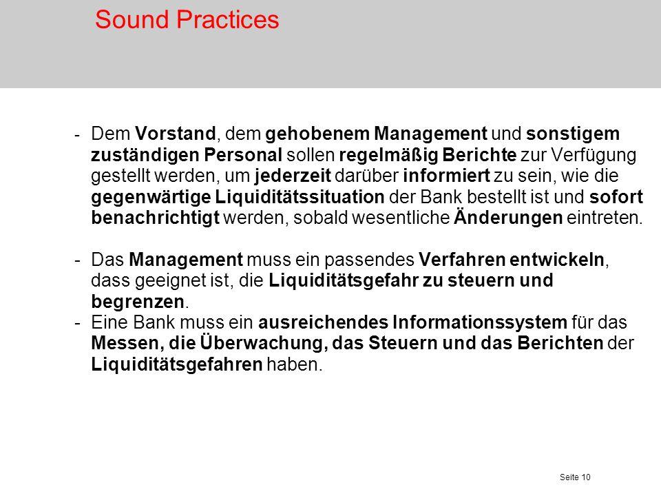 Seite 11 Messung und Überwachung des Nettofinanzierungsbedarfs Sound Practices