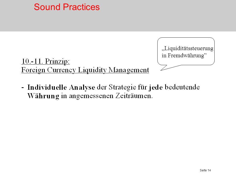 Seite 14 Liquiditätssteuerung in Fremdwährung Sound Practices