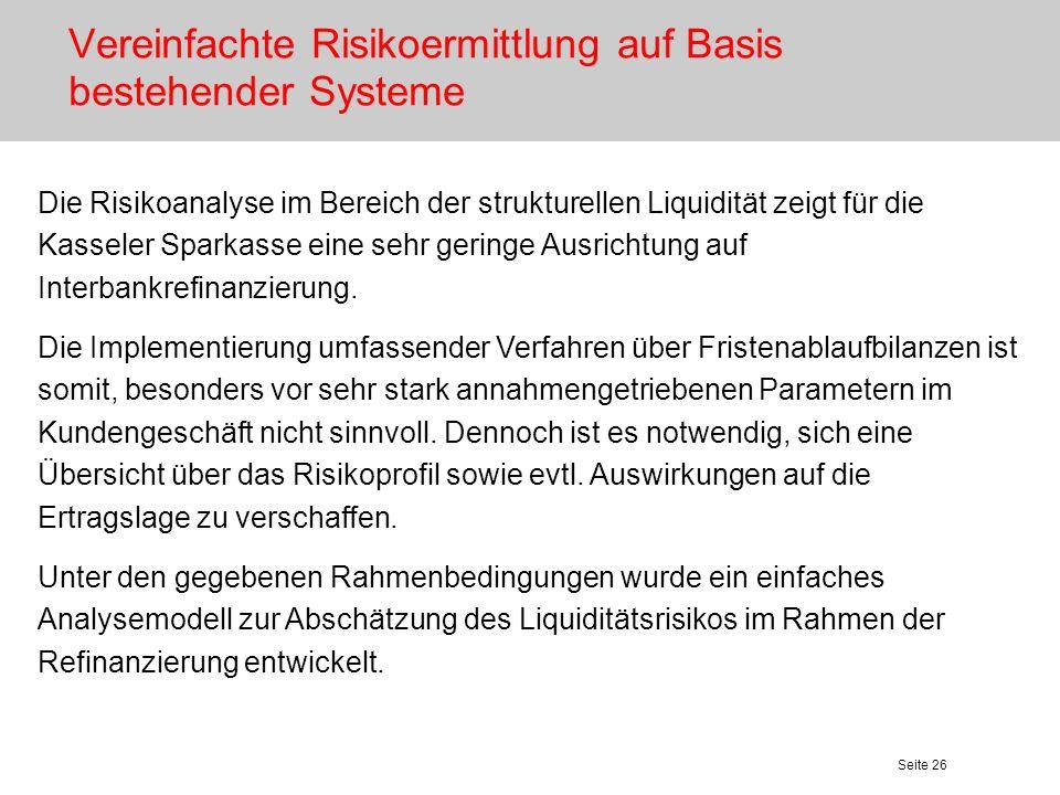 Seite 26 Vereinfachte Risikoermittlung auf Basis bestehender Systeme Die Risikoanalyse im Bereich der strukturellen Liquidität zeigt für die Kasseler