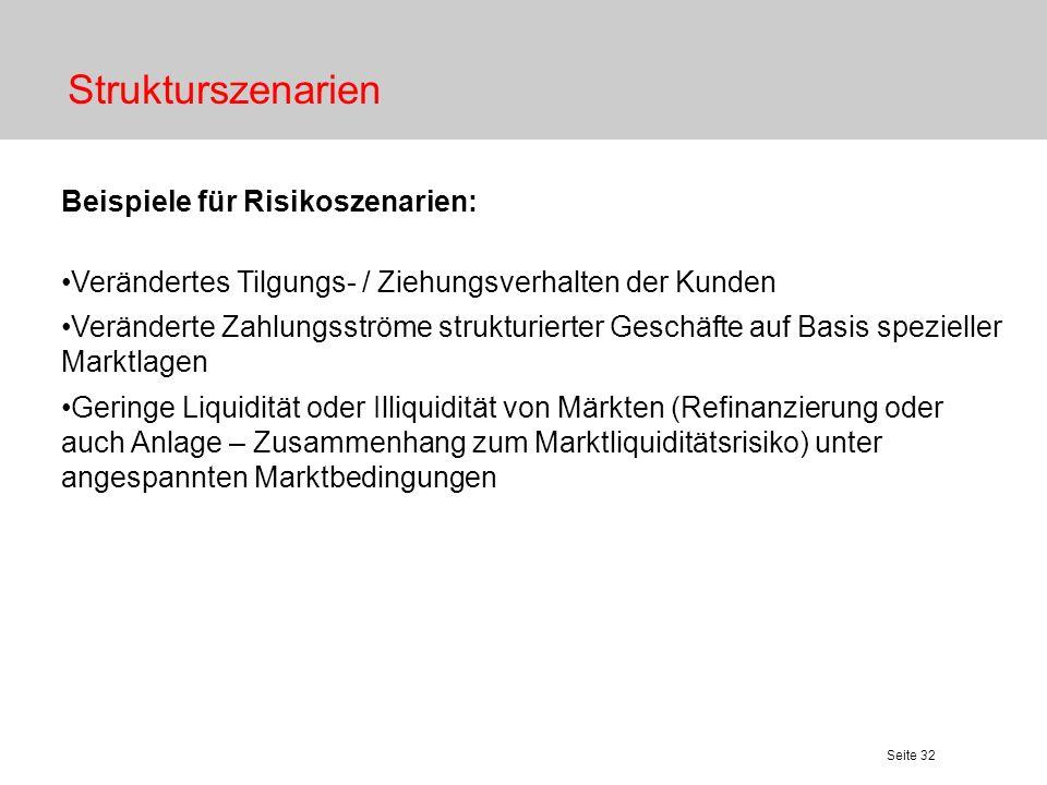 Seite 32 Strukturszenarien Beispiele für Risikoszenarien: Verändertes Tilgungs- / Ziehungsverhalten der Kunden Veränderte Zahlungsströme strukturierte