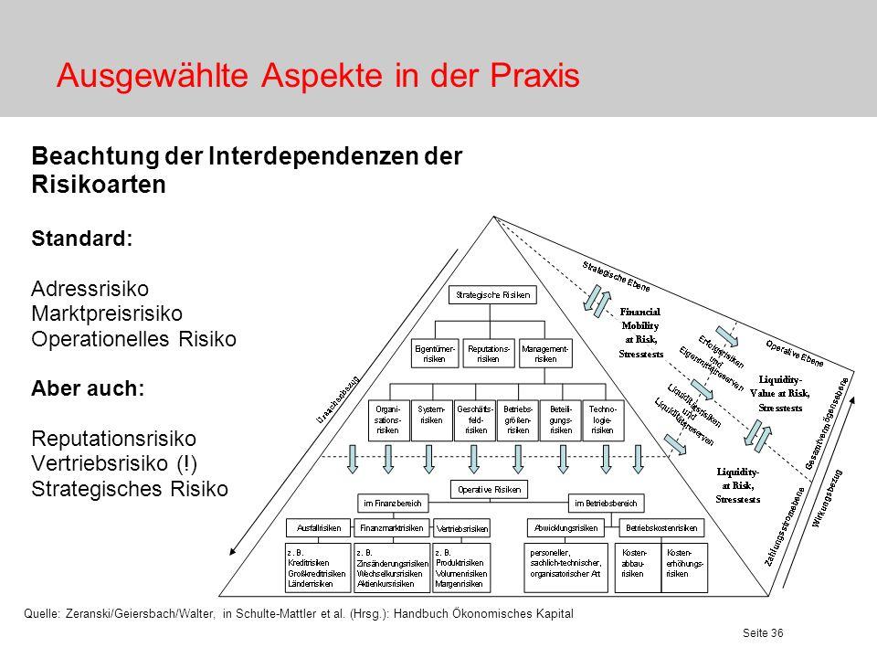 Seite 36 Ausgewählte Aspekte in der Praxis Beachtung der Interdependenzen der Risikoarten Standard: Adressrisiko Marktpreisrisiko Operationelles Risik