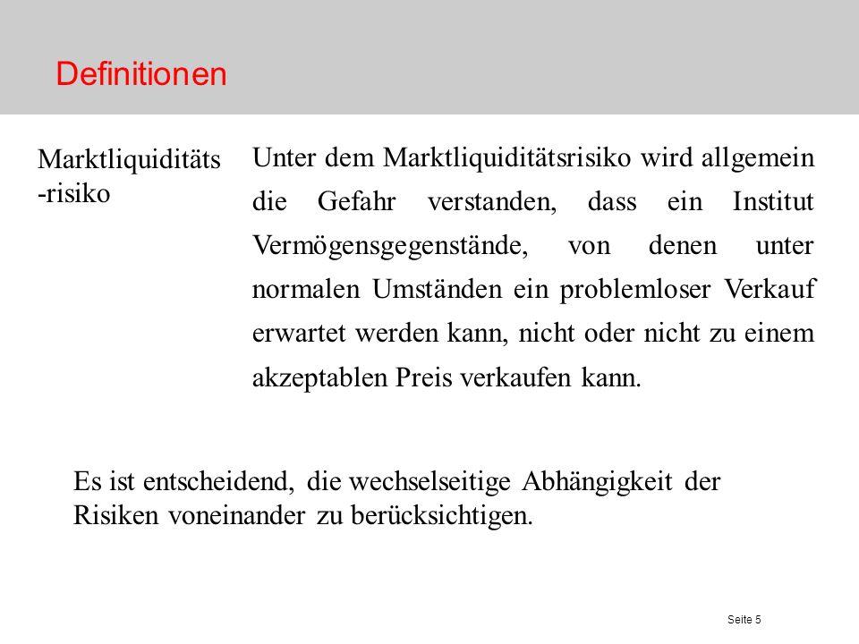 Seite 5 Definitionen Marktliquiditäts -risiko Unter dem Marktliquiditätsrisiko wird allgemein die Gefahr verstanden, dass ein Institut Vermögensgegens