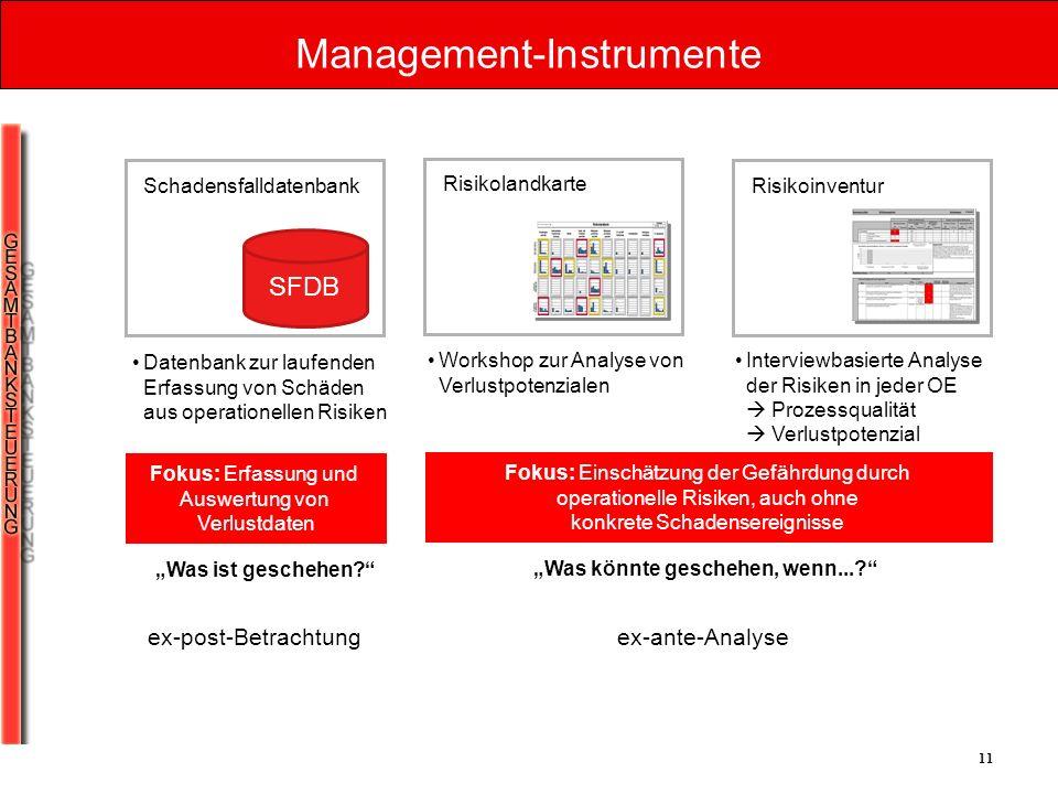 11 Management-Instrumente SFDB Schadensfalldatenbank Risikolandkarte Risikoinventur Datenbank zur laufenden Erfassung von Schäden aus operationellen R