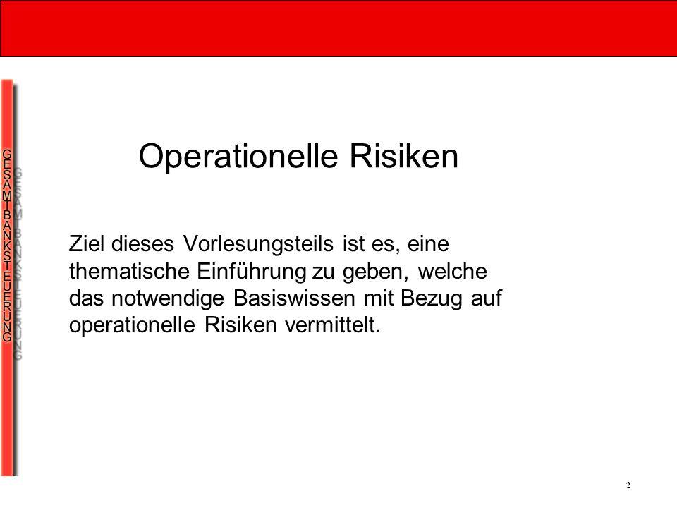 3 Praktische Bedeutung Das Bewusstsein für operationelle Risiken wurde in den 90er Jahren geschärft.