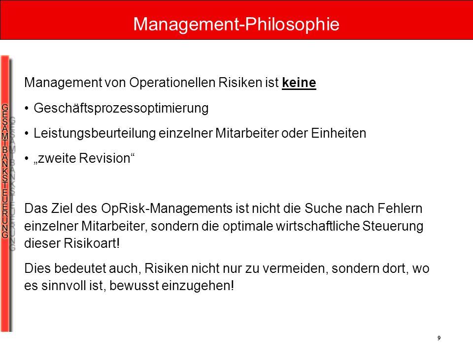 9 Management-Philosophie Management von Operationellen Risiken ist keine Geschäftsprozessoptimierung Leistungsbeurteilung einzelner Mitarbeiter oder E