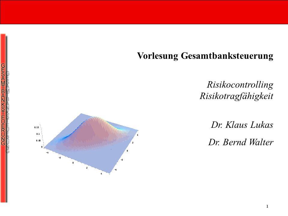 1 Vorlesung Gesamtbanksteuerung Risikocontrolling Risikotragfähigkeit Dr. Klaus Lukas Dr. Bernd Walter