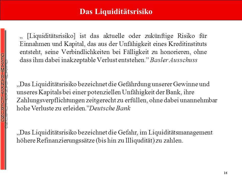 16 Das Liquiditätsrisiko [Liquiditätsrisiko] ist das aktuelle oder zukünftige Risiko für Einnahmen und Kapital, das aus der Unfähigkeit eines Kreditin