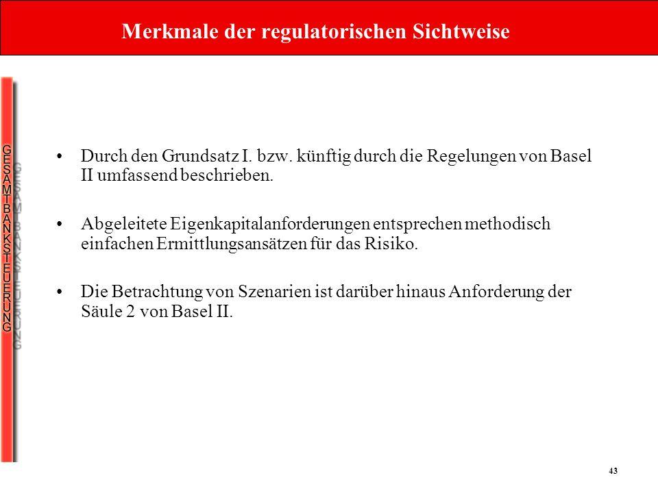 43 Merkmale der regulatorischen Sichtweise Durch den Grundsatz I. bzw. künftig durch die Regelungen von Basel II umfassend beschrieben. Abgeleitete Ei