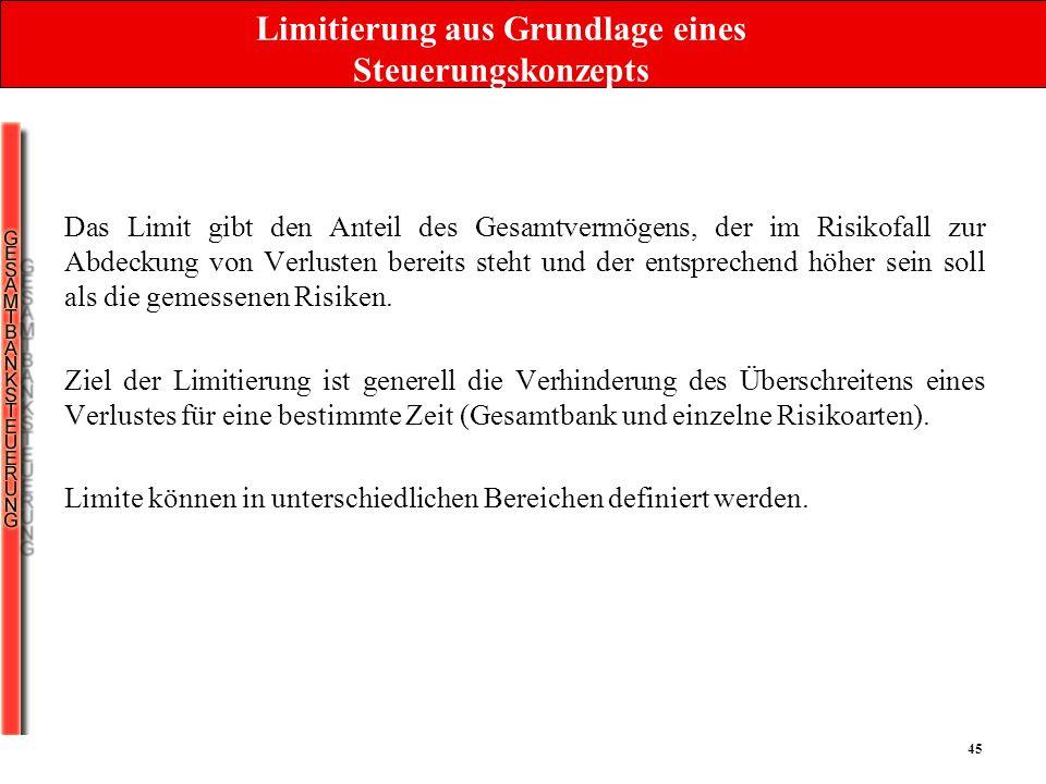 45 Limitierung aus Grundlage eines Steuerungskonzepts Das Limit gibt den Anteil des Gesamtvermögens, der im Risikofall zur Abdeckung von Verlusten ber