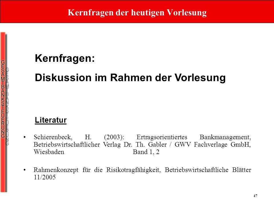 47 Kernfragen der heutigen Vorlesung Kernfragen: Diskussion im Rahmen der Vorlesung Schierenbeck, H. (2003): Ertragsorientiertes Bankmanagement, Betri