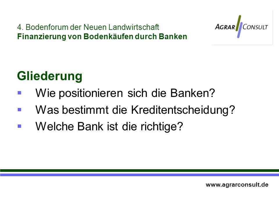 Gliederung Wie positionieren sich die Banken. Was bestimmt die Kreditentscheidung.