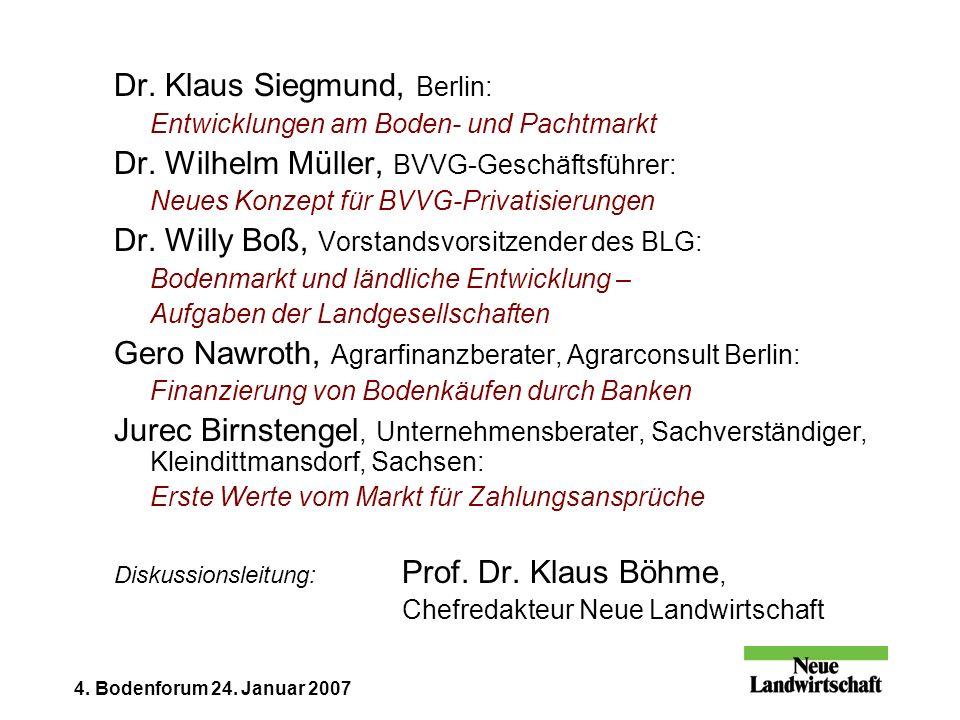 4. Bodenforum 24. Januar 2007 Dr. Klaus Siegmund, Berlin: Entwicklungen am Boden- und Pachtmarkt Dr. Wilhelm Müller, BVVG-Geschäftsführer: Neues Konze