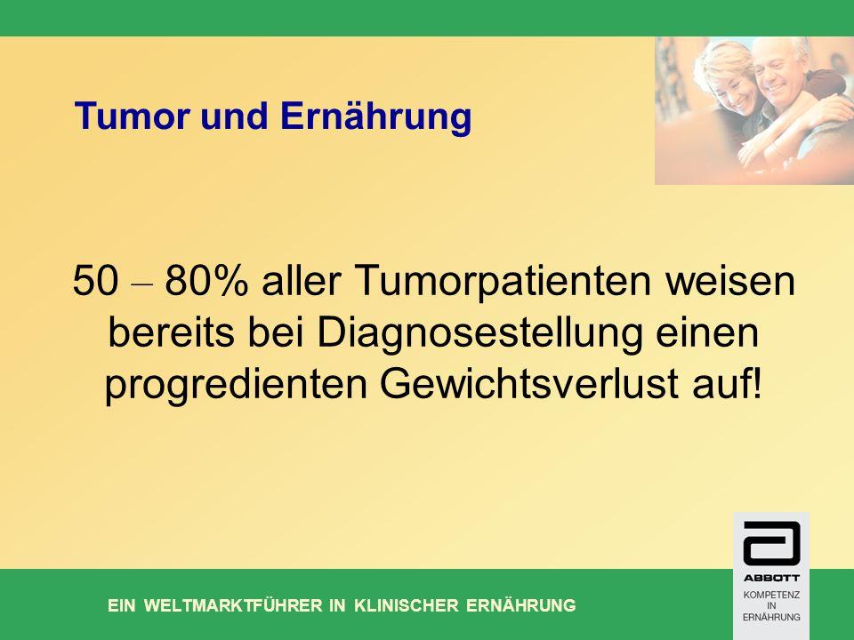 EIN WELTMARKTFÜHRER IN KLINISCHER ERNÄHRUNG 50 – 80% aller Tumorpatienten weisen bereits bei Diagnosestellung einen progredienten Gewichtsverlust auf.
