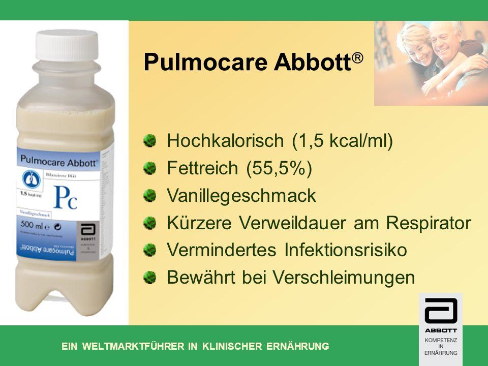 EIN WELTMARKTFÜHRER IN KLINISCHER ERNÄHRUNG Pulmocare Abbott Hochkalorisch (1,5 kcal/ml) Fettreich (55,5%) Vanillegeschmack Kürzere Verweildauer am Respirator Vermindertes Infektionsrisiko Bewährt bei Verschleimungen