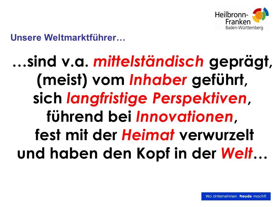 Top10 Deutschland nach Dichte (Weltmarktführer pro Einwohner) Nr.Kreis/StadtAnzahlEinwohner Einwohner pro Weltmarktführer 1Hohenlohekreis12109.7179.143 2München (Landkreis ohne Stadt)31311.49310.048 3Memmingen, Stadt441.11110.278 4Coburg, Stadt441.63810.410 5Main-Tauber-Kreis12136.29611.358 6Lindau (Bodensee)779.73311.390 7Ravensburg23275.90011.996 8Tuttlingen11135.29112.299 9Wunsiedel im Fichtelgebirge680.50513.418 10Freudenstadt9122.27513.586 Quelle: Datenbank Deutsche Weltmarktführer (R.1.9.5 - 20.10.2009); Statistisches Bundesamt - Gemeindeverzeichnis 2006 Künzelsau: (Welt)-Hauptstadt der Weltmarktführer Quelle Professor Bernd Venohr, Deutsche Weltmarktführer, München