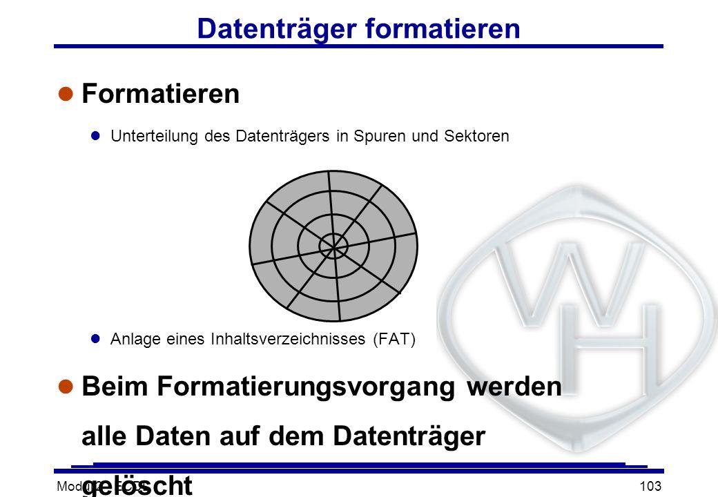 Modul 2 - ECDL103 Datenträger formatieren l Formatieren l Unterteilung des Datenträgers in Spuren und Sektoren l Anlage eines Inhaltsverzeichnisses (F