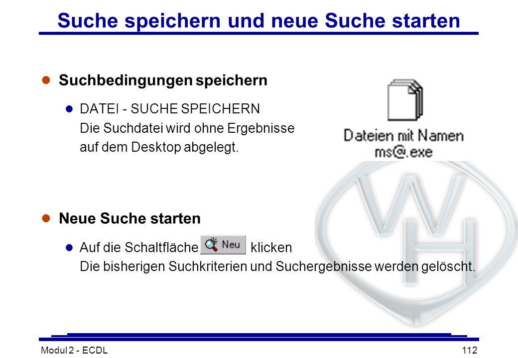 Modul 2 - ECDL112 Suche speichern und neue Suche starten l Suchbedingungen speichern l DATEI - SUCHE SPEICHERN Die Suchdatei wird ohne Ergebnisse auf