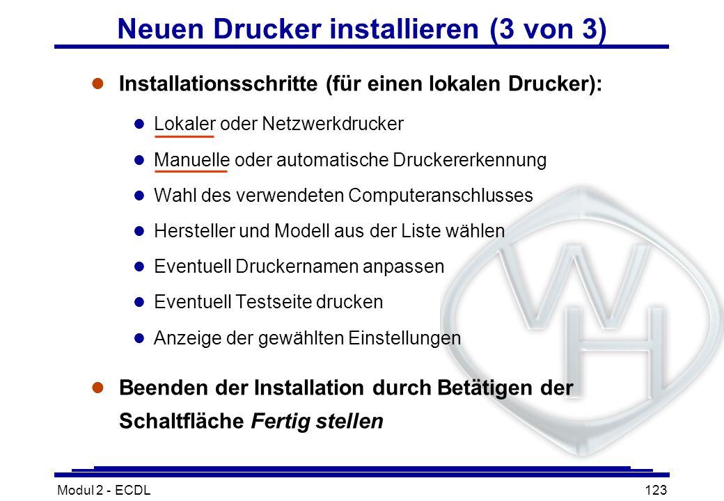Modul 2 - ECDL123 Neuen Drucker installieren (3 von 3) l Installationsschritte (für einen lokalen Drucker): l Lokaler oder Netzwerkdrucker l Manuelle